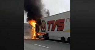 Viatura pesada incendiou-se na A25 na zona de Vouzela